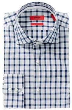 HUGO BOSS Front Button Plaid Print Regular Fit Woven Shirt