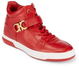 Salvatore Ferragamo Nayon Gancini Leather High-Top Sneakers