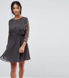 Elise Ryan Petite Ruched Waist Lace Midi Dress With 3/4 Length Sleeve