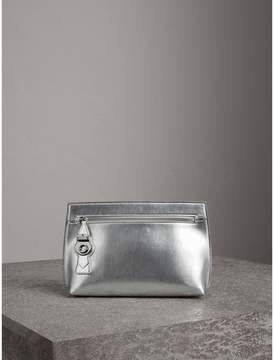 Burberry Metallic Trench Leather Pouch - SILVER - STYLE