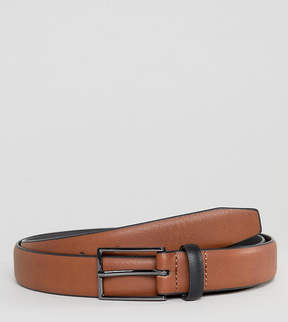 Asos PLUS Smart Slim Belt In Tan Faux Leather And Black Contrast Keeper