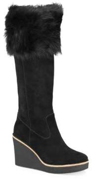 UGG Valberg Fur & Suede Wedge Boots