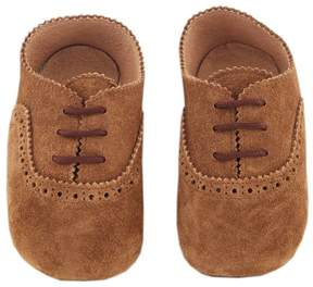 Marie Chantal Baby Boy Pram Shoe - Suede Brogues - Chocolate