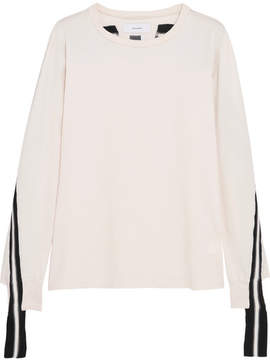 Facetasm Striped Wool-trimmed Cotton-jersey Top - Off-white