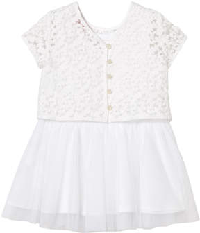 Lili Gaufrette White Two in One Embroided Tulle Dress