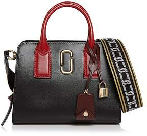Marc Jacobs Little Big Shot Leather Satchel - BLACK/CHIANTI/GOLD - STYLE