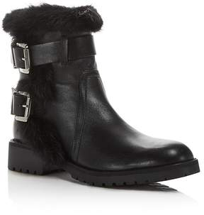 Charles David Rustic Leather and Rabbit Fur Moto Booties