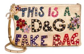 Dolce & Gabbana Studded Floral Logo Leather Convertible Clutch - LIGHT GOLD - STYLE