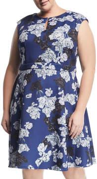 Alexia Admor Plus Keyhole Fit-and-Flare Dress, Plus Size