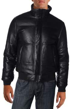 Marc by Marc Jacobs Mens Insulated Mock Neck Leather Coat
