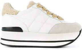 Hogan shearling trim platform sneakers