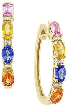 Bloomingdale's Multicolor Sapphire and Diamond Hoop Earrings in 14K Yellow Gold - 100% Exclusive