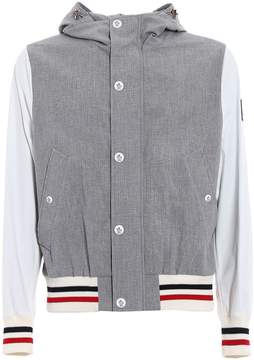 Moncler Gamme Bleu Zipped Seersucker Jacket