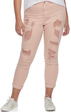 Almost Famous Juniors' Plus Size Roll Cuff Ripped Jeans