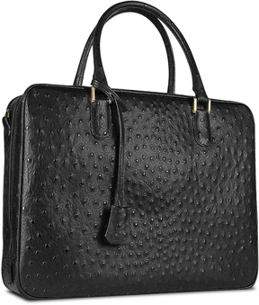 Fontanelli Black Ostrich Stamped Leather Briefcase