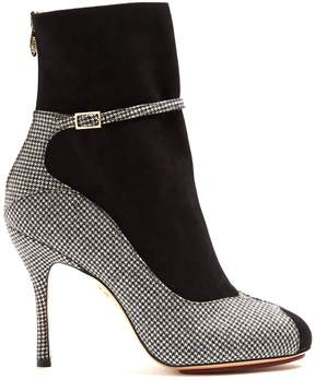 Charlotte Olympia Incognito hound's-tooth suede and wool boots