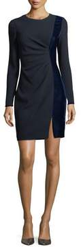 Elie Tahari Clarette Long-Sleeve Ruched Velvet-Trim Sheath Dress