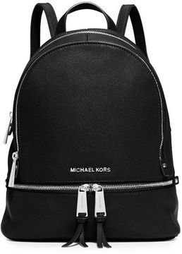 MICHAEL Michael Kors Rhea Middle Leather Backpack - BLACK - STYLE