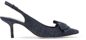 Tory Burch Rosalind Bow-embellished Suede Slingback Pumps - Navy