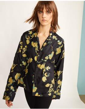 Cynthia Rowley | Wipeout Floral Night Shirt | L | Gold poppy