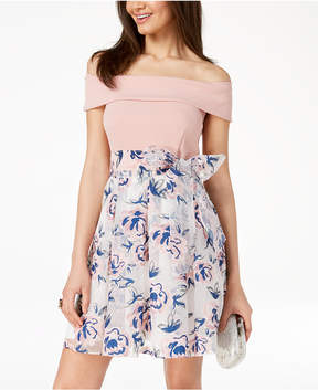 B. Darlin Juniors' Off-The-Shoulder Printed-Skirt Fit & Flare Dress