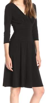 Nine West Women's Surplice Ruched Jersey Dress