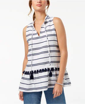 Charter Club Linen Striped Peplum Top, Created for Macy's