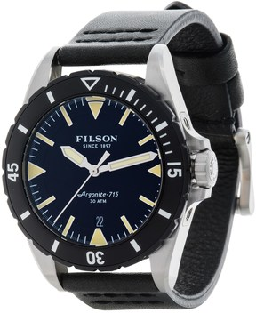 Filson Dutch Harbor Watch - 43mm, Black Leather Strap (For Men)