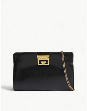 Givenchy Black Grained Elegant Logo Leather Clutch Bag