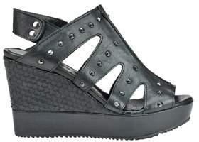 Car Shoe Women's Black Leather Wedges.