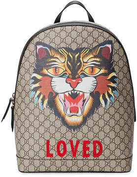 Gucci Angry Cat print GG Supreme backpack