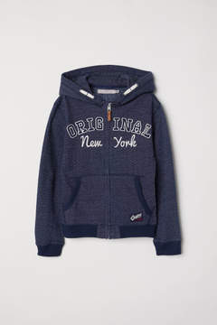 H&M Hooded Jacket with Motif - Blue
