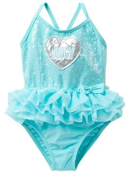 Juicy Couture Mint Sequin Tutu One Piece Swimsuit (Toddler Girls)