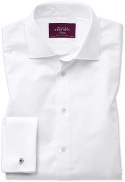 Charles Tyrwhitt Classic Fit Semi-Spread Collar Luxury Twill White Egyptian Cotton Dress Shirt French Cuff Size 15/33