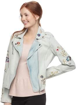 Candies Juniors' Candie's Embroidered Jean Moto Jacket