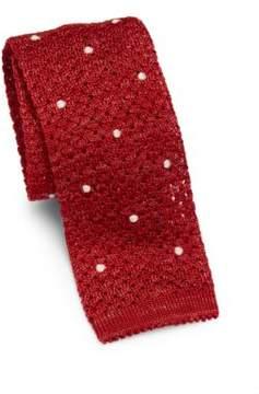 Isaia Dot Knit Cotton Tie