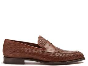 Fratelli Rossetti Woven-embossed leather loafers