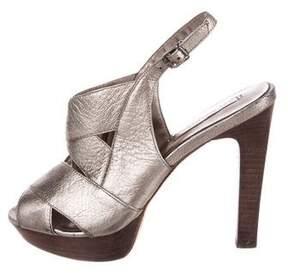 BCBGMAXAZRIA Metallic Platform Sandals