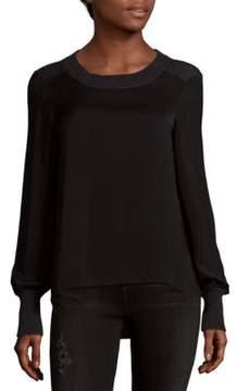 Saks Fifth Avenue BLACK Knit Woven Long Sleeve Blouse