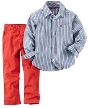 Carter's Boys Baby 2 Piece Playwear Pant Set Striped Blue Red Months