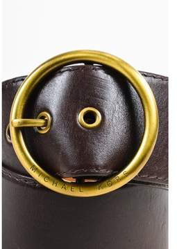 Michael Kors Pre-owned Dark Brown Leather Wide Band Waist Round Buckle Belt Sz S.