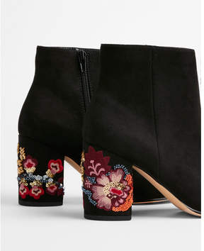 Express embroidered sequin heel ankle booties