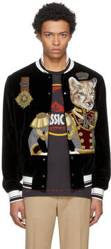 Dolce & Gabbana Black Velvet Royal Cat Bomber Jacket