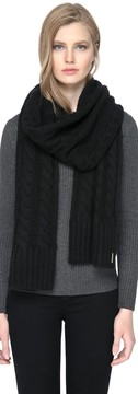 Soia & Kyo MIRI cable knit scarf in black