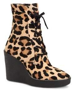 Aquatalia Viviann Leopard-Print Calf Hair Lace-Up Wedge Booties
