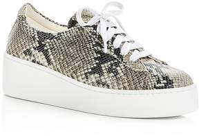 Robert Clergerie Women's Tasket Snake Embossed Leather Lace Up Platform Sneakers