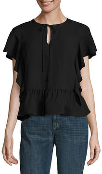 BELLE + SKY Short Sleeve Tie Front Cropped Blouse