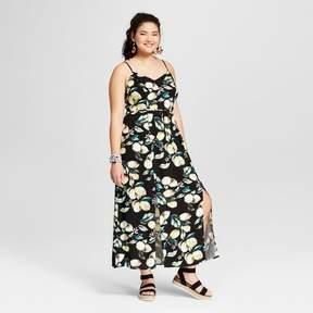 Xhilaration Women's Plus Size Floral Print Ruffle Maxi Dress Black