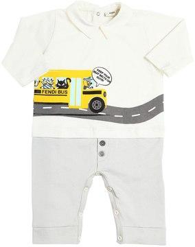Fendi Bus Printed Cotton Jersey Romper