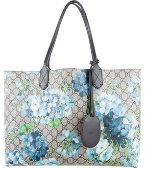 Gucci 2015 GG Blooms Reversible Tote - BLUE - STYLE